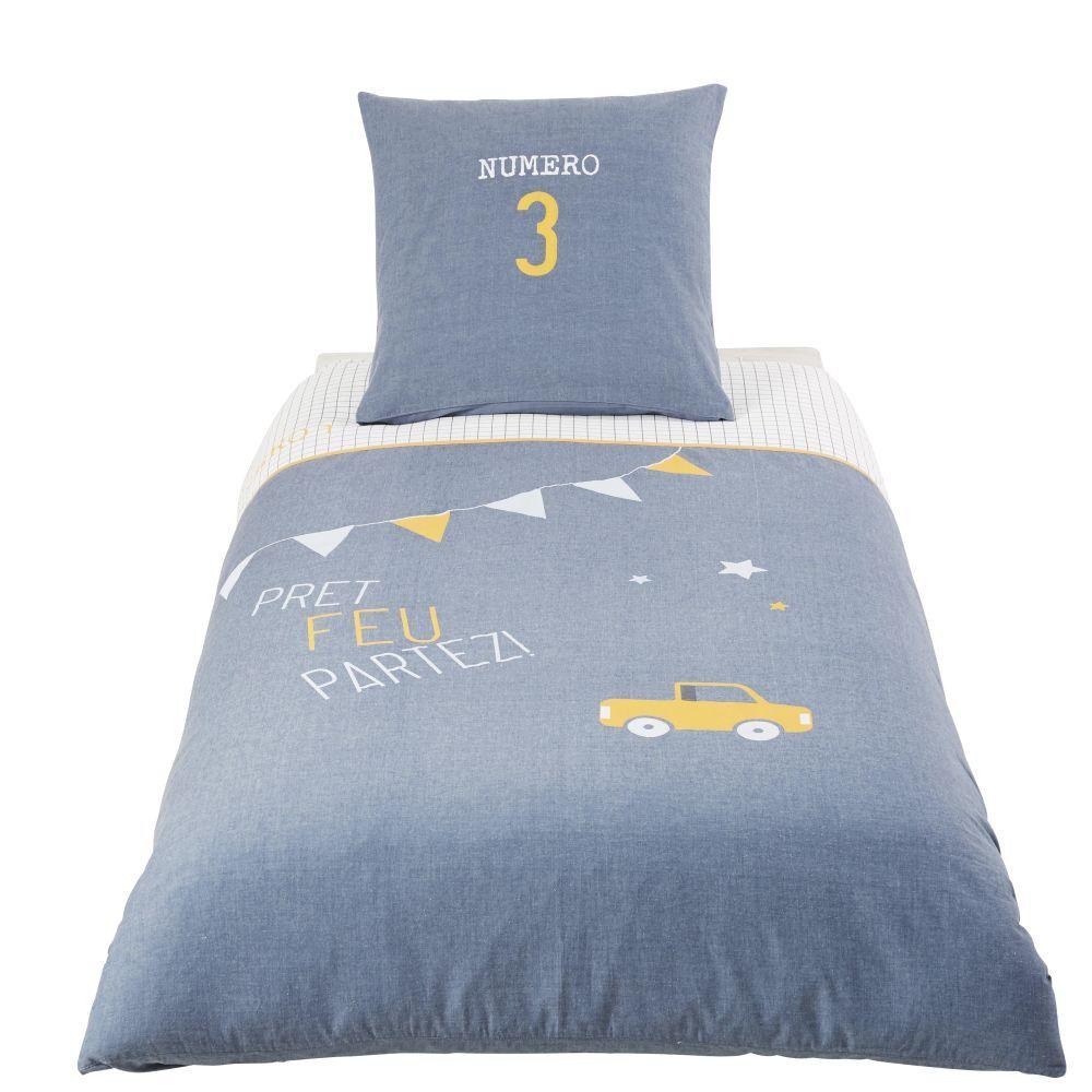 Maisons du Monde Parure de lit enfant en coton bleu 140x200