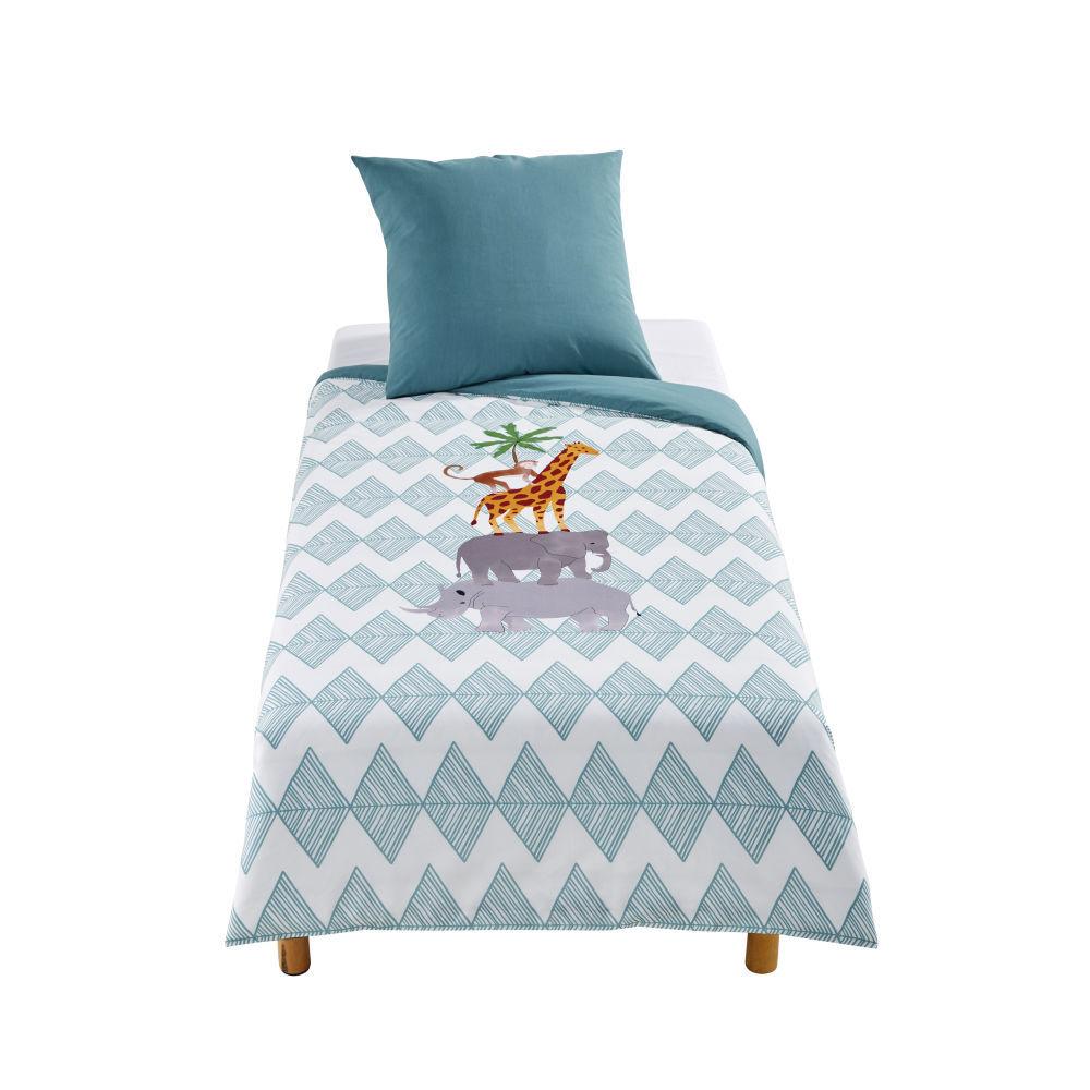 Maisons du Monde Parure de lit enfant en coton vert et blanc imprimé animaux 140x200