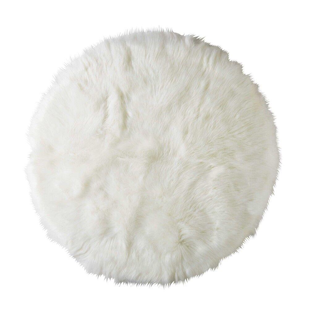 Maisons du Monde Tapis rond en fausse fourrure blanche D.140cm FURIL