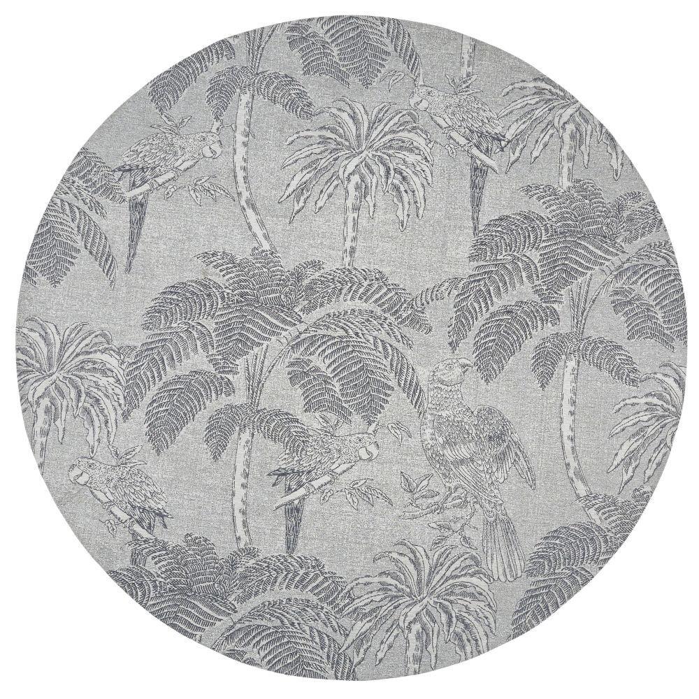 Maisons du Monde Tapis rond tissé jacquard beige imprimé gris anthracite D200