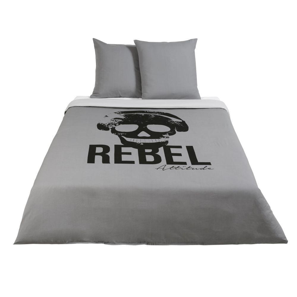 Maisons du Monde Parure de lit enfant en coton gris anthracite imprimé noir 240x220