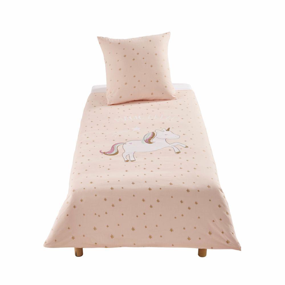 Maisons du Monde Parure de lit enfant en coton rose motifs étoiles dorées 140x200