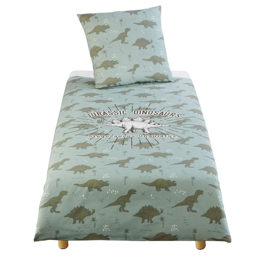 Maisons du Monde Parure de lit enfant en coton vert kaki imprimé 140X200