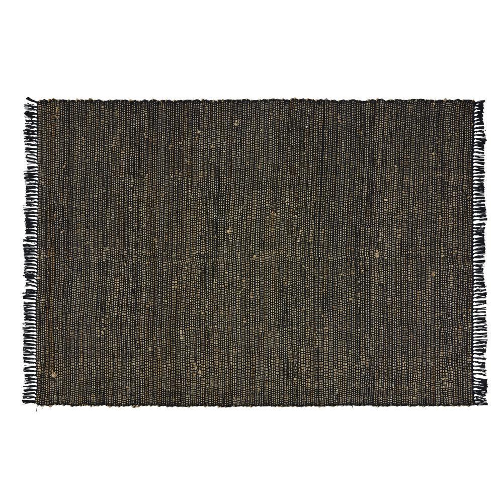 Maisons du Monde Tapis fait main en coton et jute noirs 140x200
