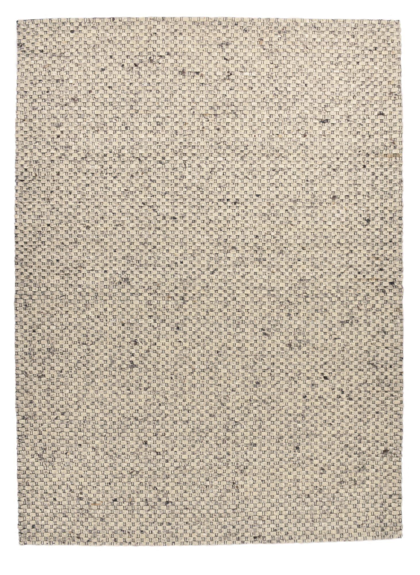 THEKO Tapis feutré en laine naturelle fait main gris 140x200