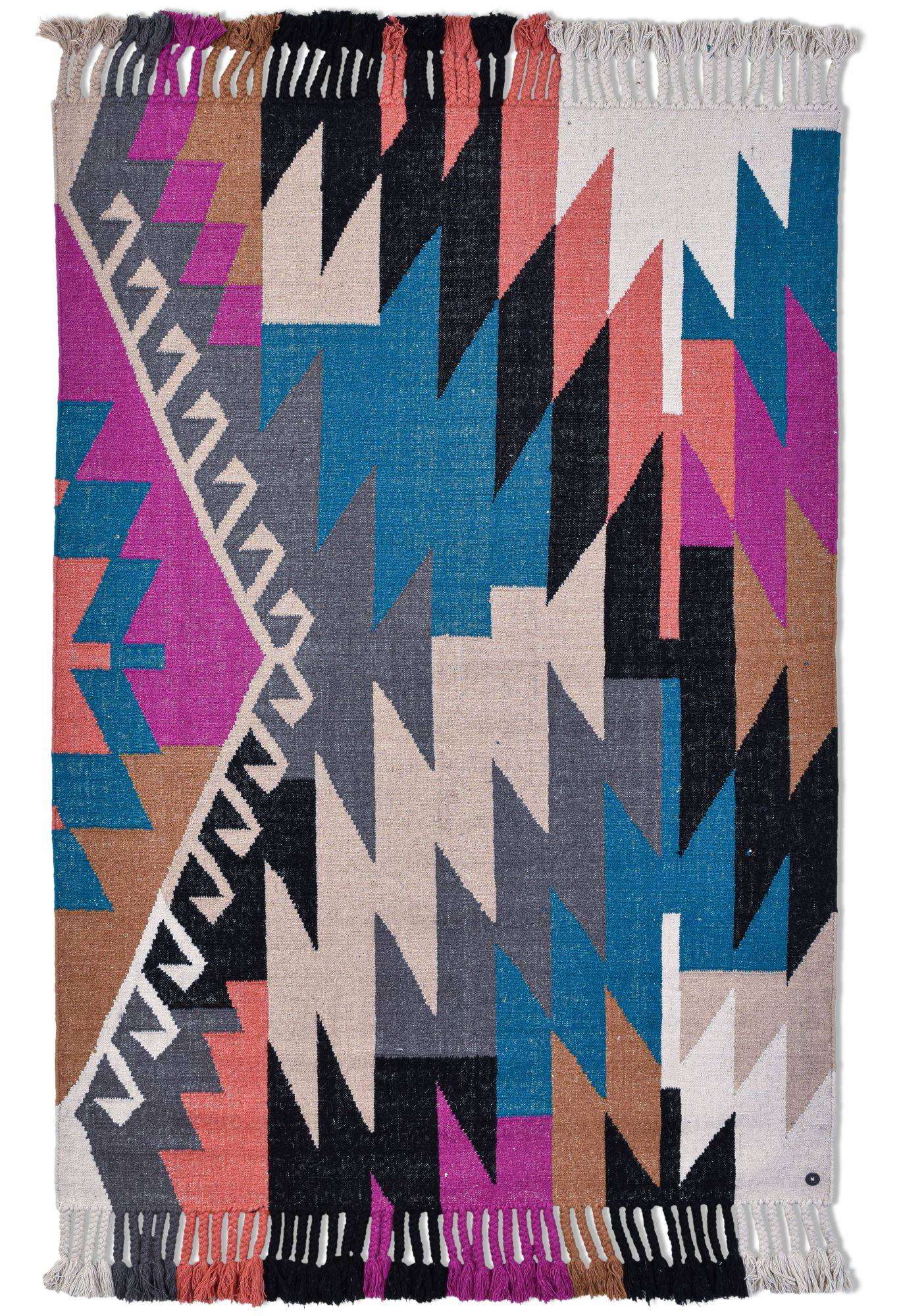 Tom Tailor Tapis kelim moderne en laine fait  la main multi 140x200