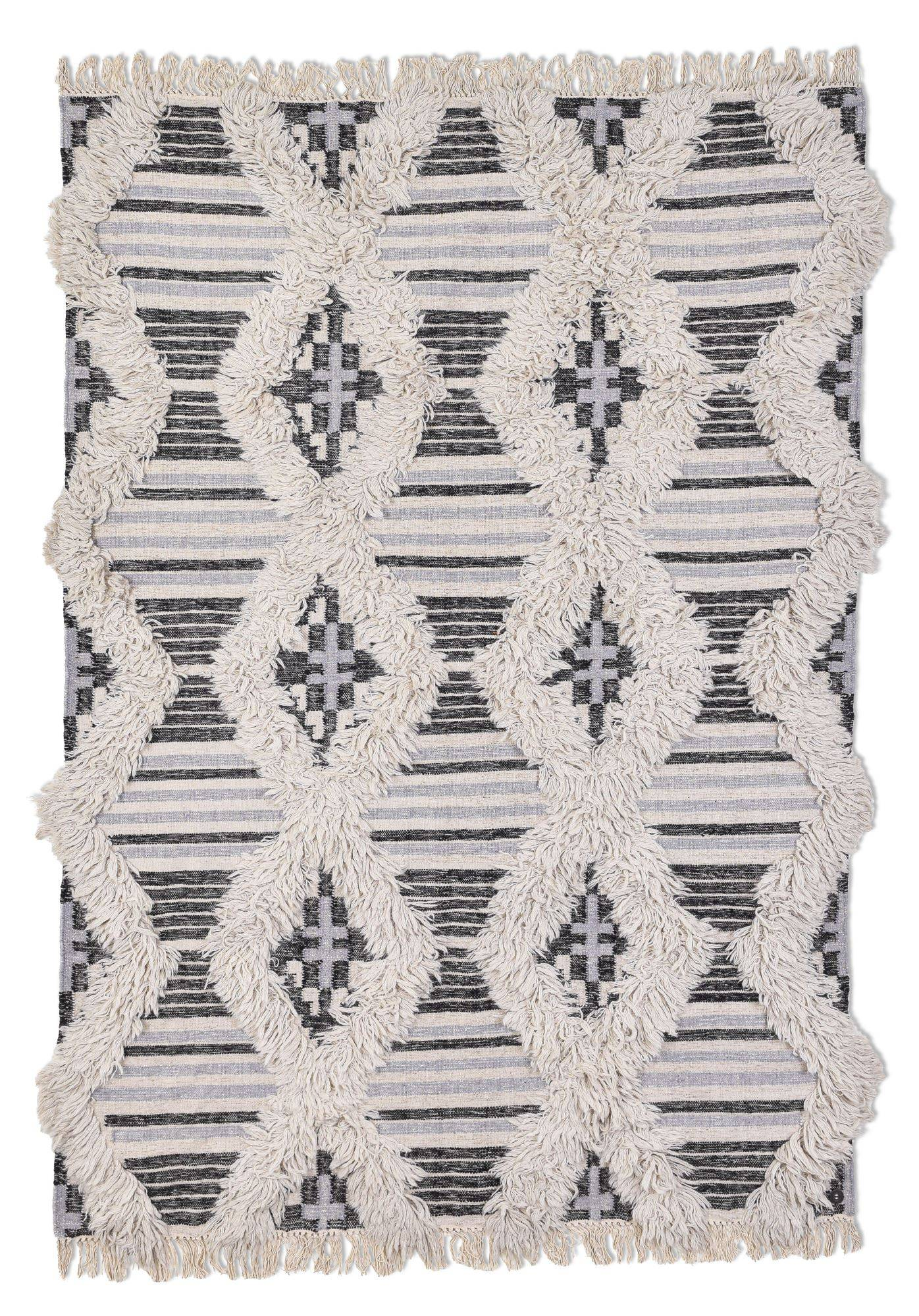 Tom Tailor Tapis kelim moderne en laine fait main noir et blanc 140x200