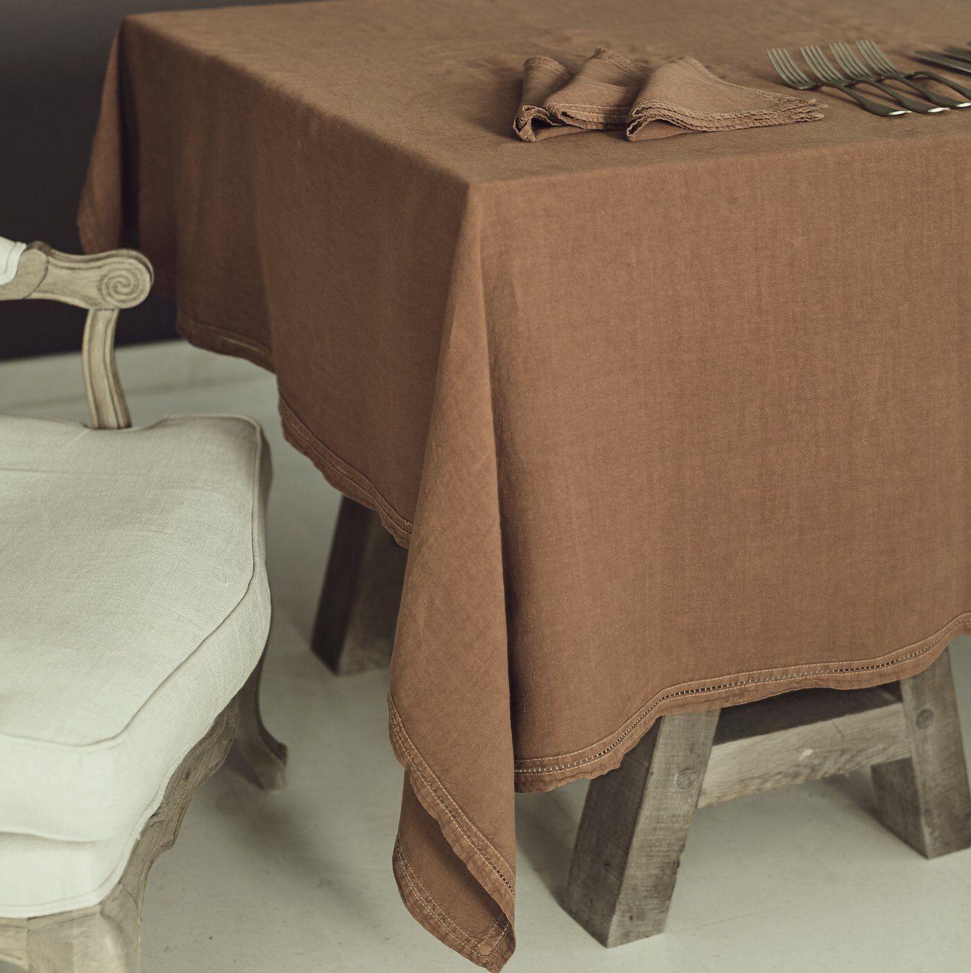 Lo de Manuela Nappe  Lin pur lavé Terre cuite 180x300