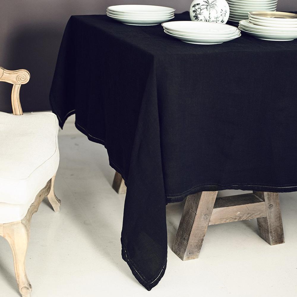 Lo de Manuela Nappe  Lin pur lavé Noir 160x250