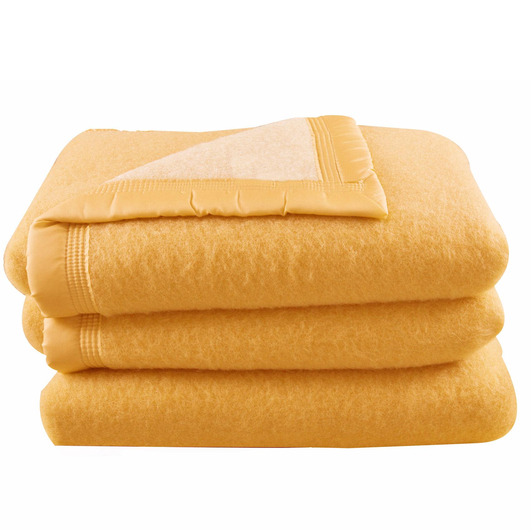 Home Maison Couverture en 100% pure laine vierge laine mais/champagne 240x180