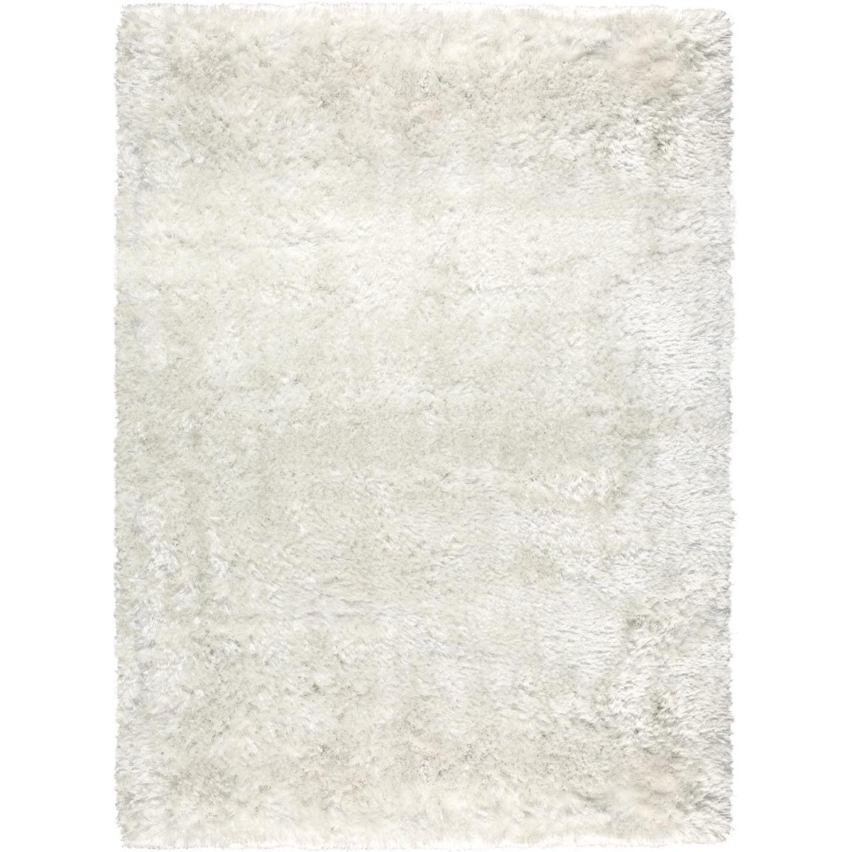 Ligne Pure Tapis shaggy poils long en polyester blanc 140x200