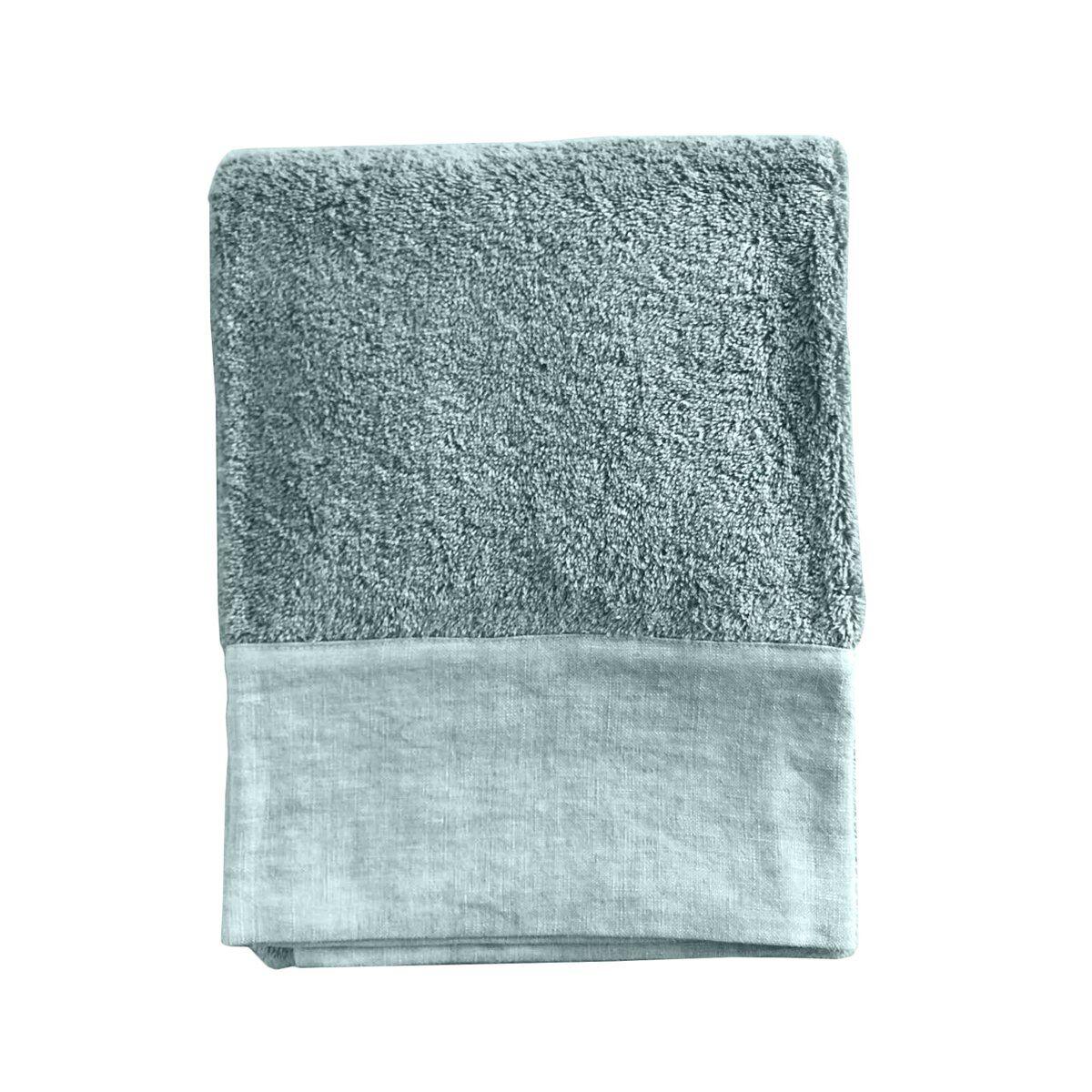 Lo de Manuela Serviette de toilette finition lin lavé vert d'eau 70x140