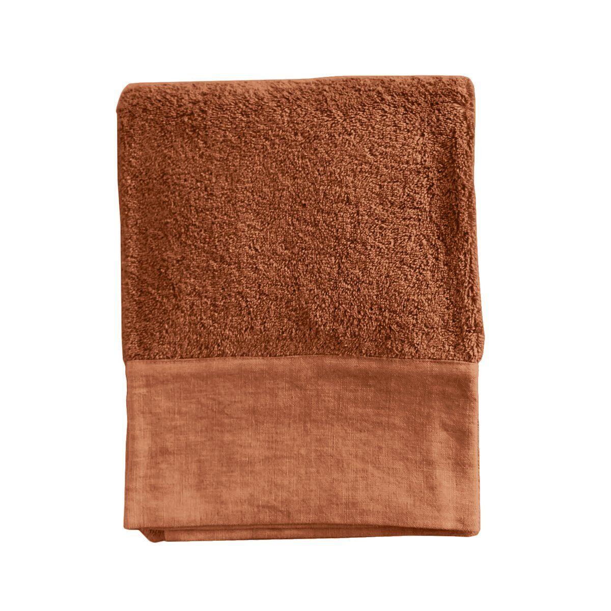 Lo de Manuela Serviette de toilette finition lin lavé orange foncé 70x140