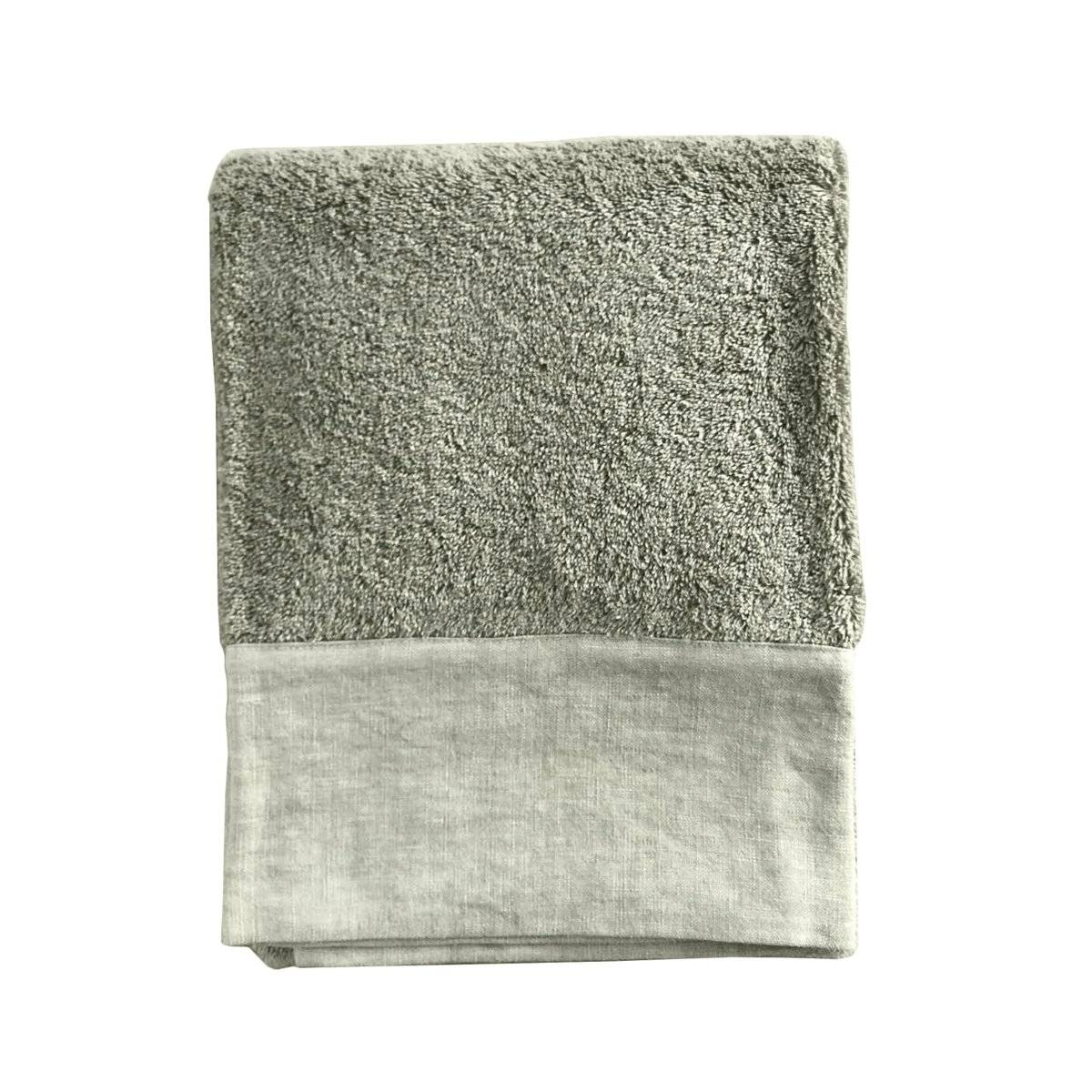 Lo de Manuela Serviette de toilette finition lin lavé kaki 70x140