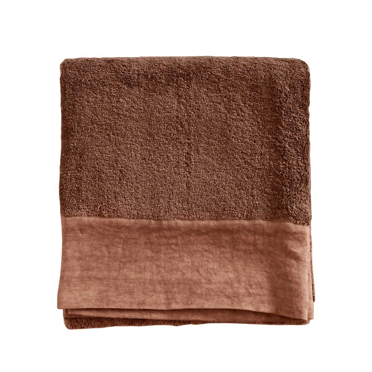 Lo de Manuela Serviette de toilette finition lin lavé terre cuite 70x140