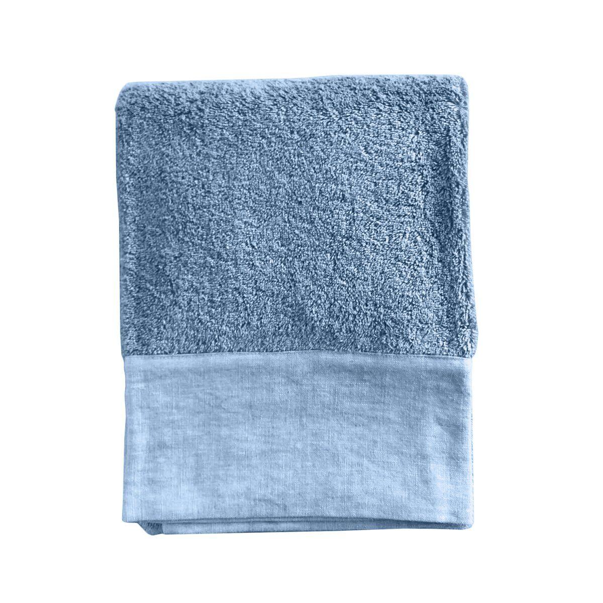 Lo de Manuela Serviette de toilette finition lin lavé turquoise 70x140