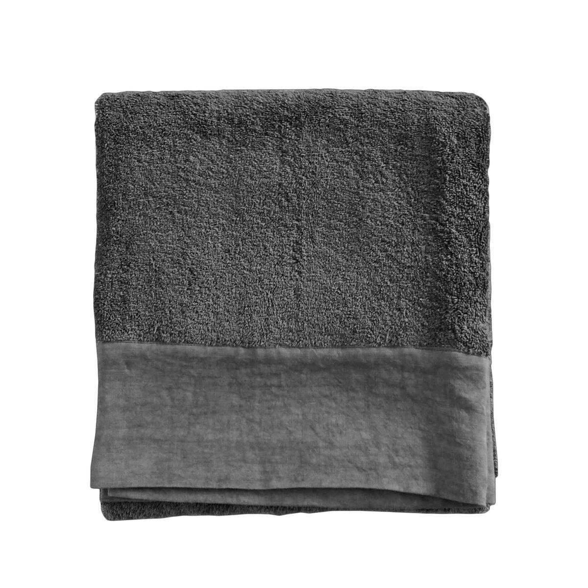 Lo de Manuela Serviette de toilette finition lin lavé gris plomb  70x140