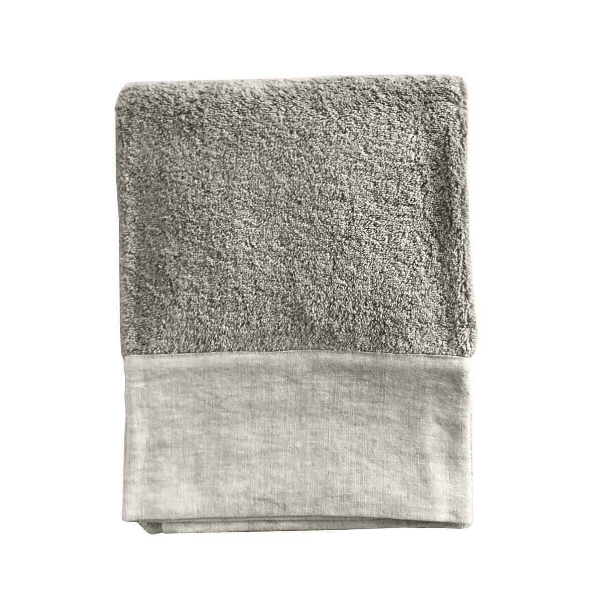 Lo de Manuela Serviette de toilette finition lin lavé beige 70x140