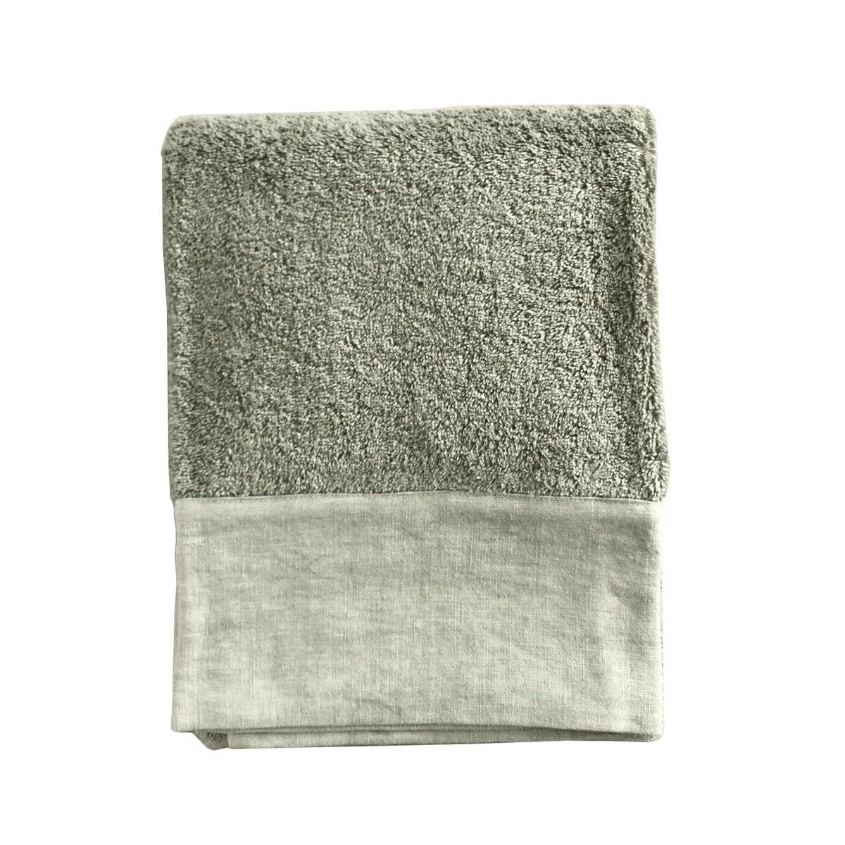 Lo de Manuela Serviette de toilette finition  lin lavé kaki 100x150