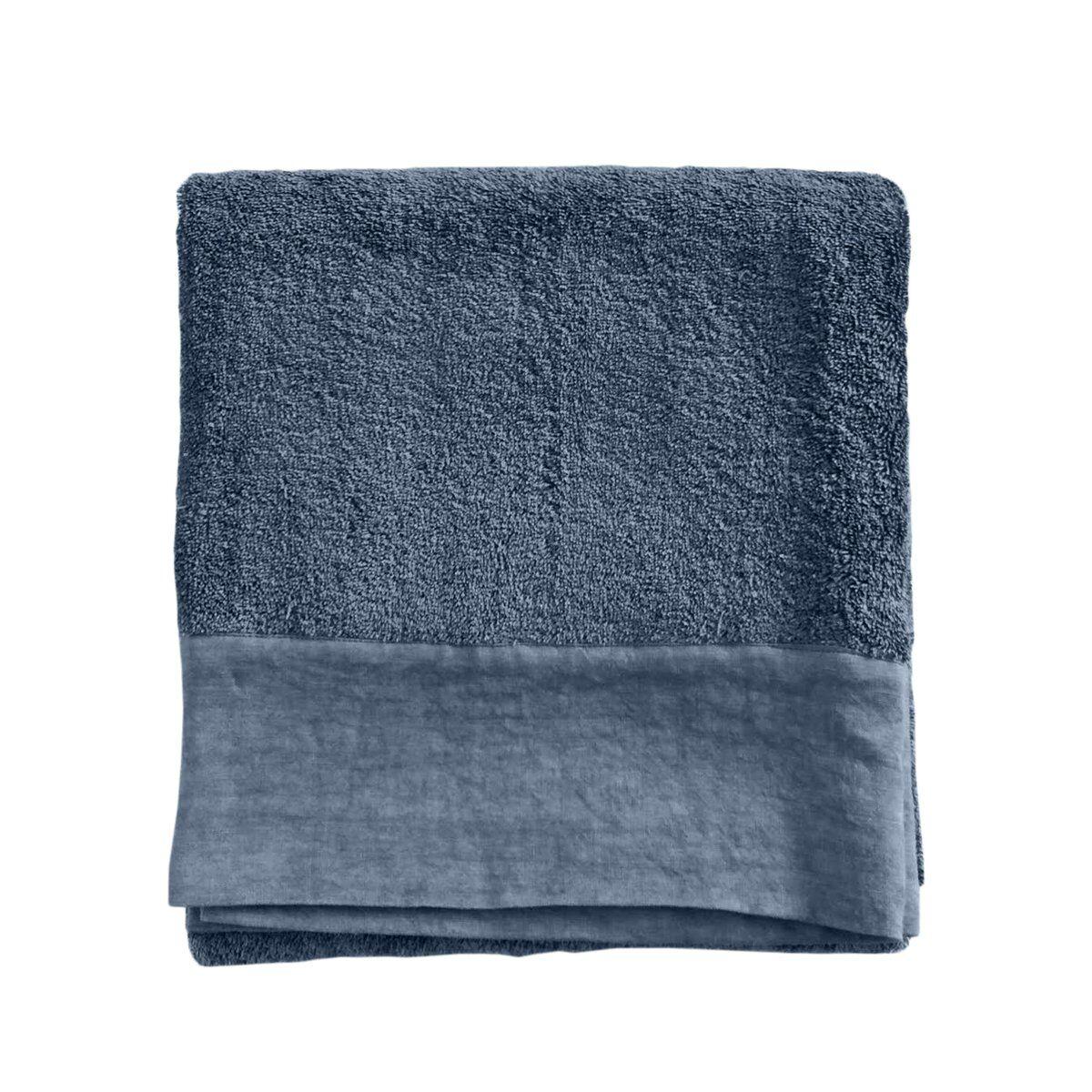 Lo de Manuela Serviette de toilette finition lin lavé bleu nuit 70x140