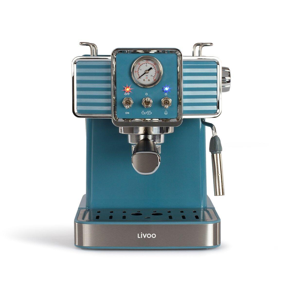 Livoo Machine à café expresso en acier inoxydable bleu