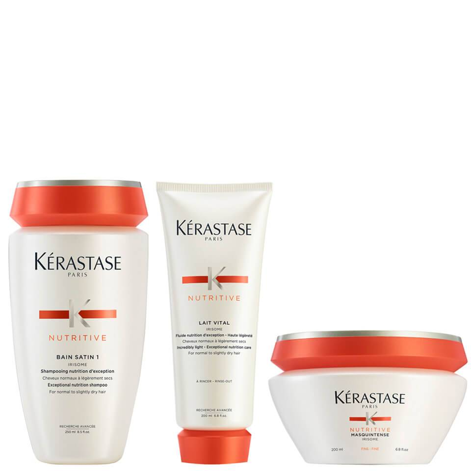 Bain Satin 1 Kérastase Nutritive 250 ml Lait Vital Nutritive 200 ml & Masquintense Cheveux Fins 200 ml