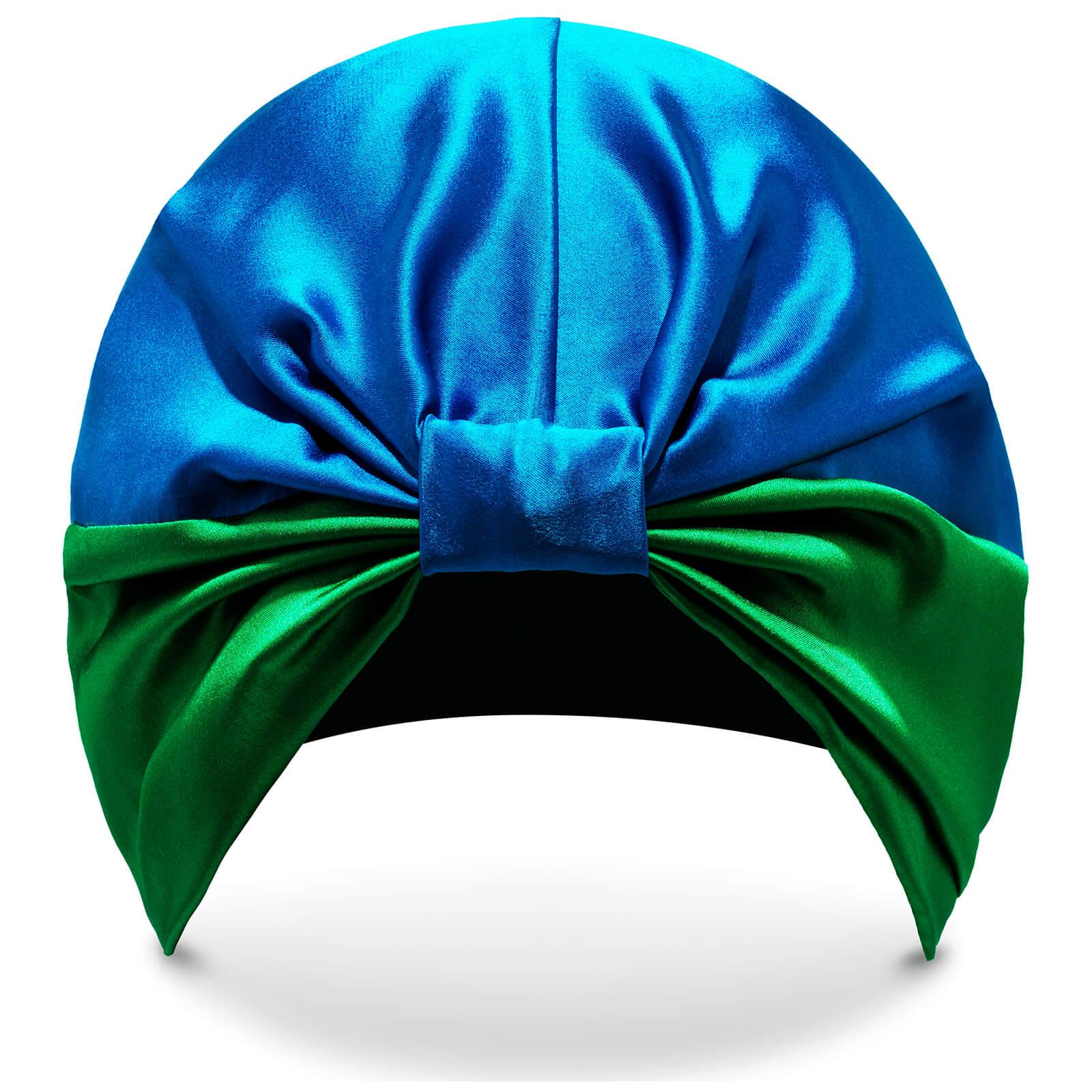 SILKE London Turban Protecteur en Soie The Isla SILKE– Bleu et Vert