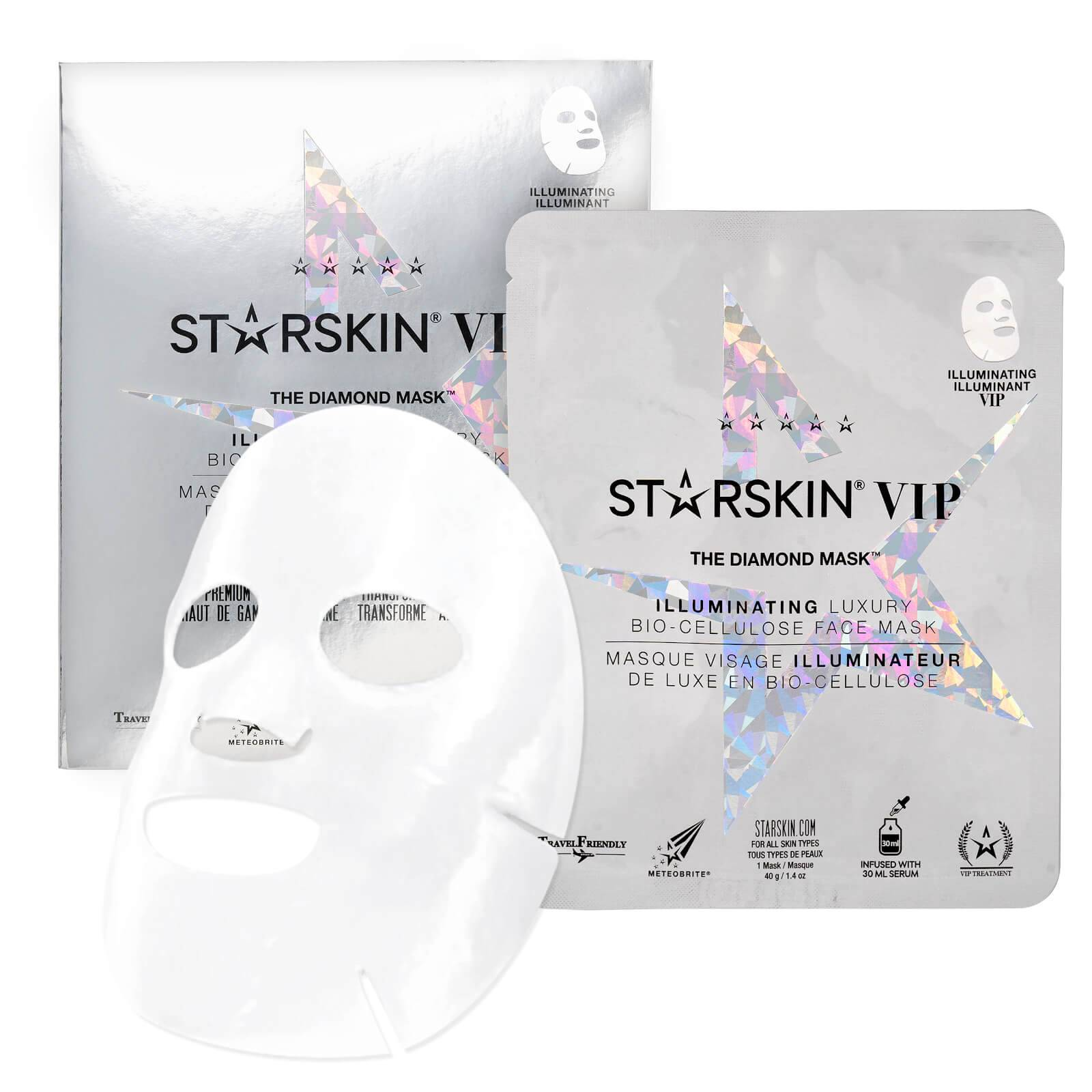 STARSKIN Masque Visage VIP Seconde Peau Illuminateur Noix de Coco Bio-Cellulose The Diamond Mask™ STARSKIN