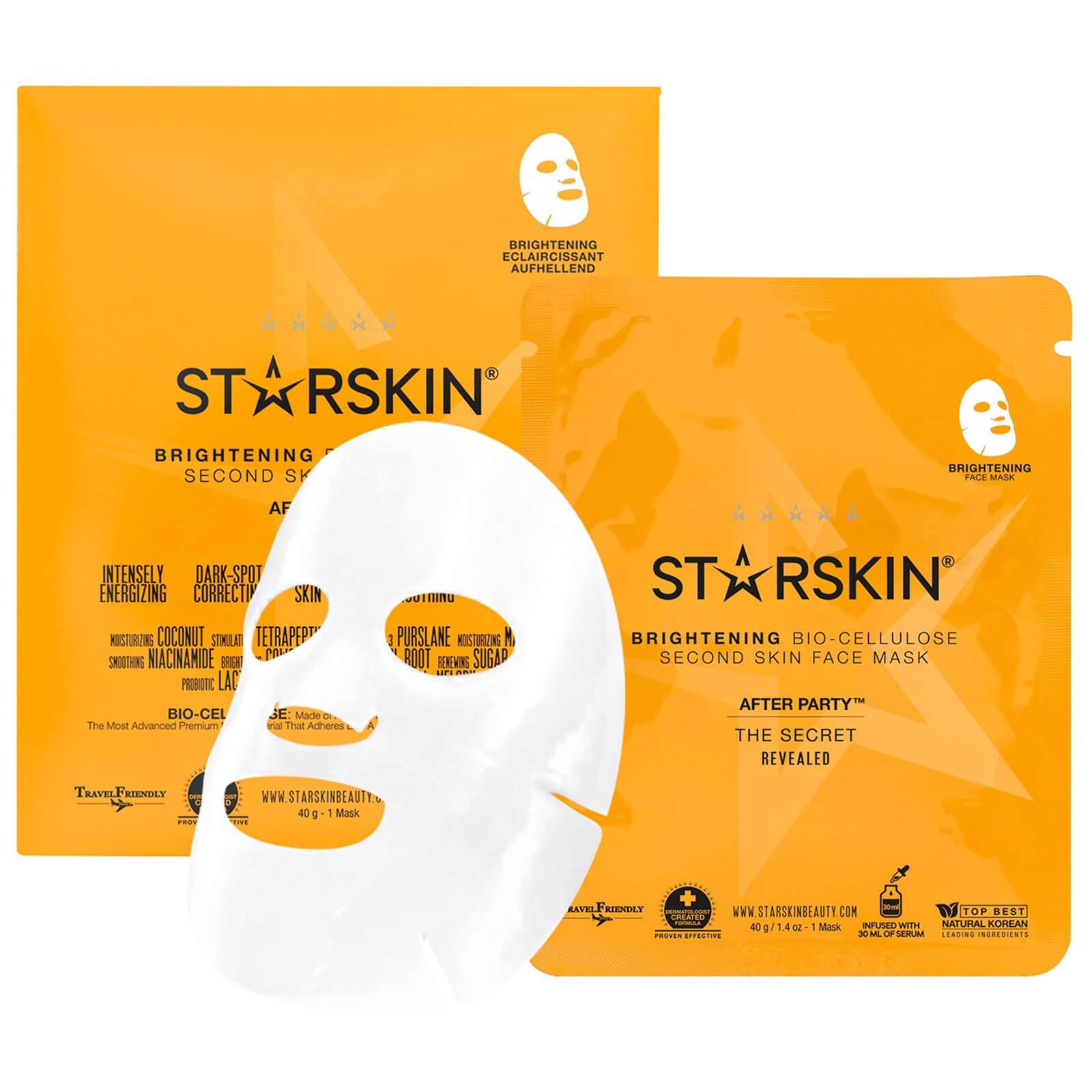 STARSKIN Masque Visage Éclaircissant Seconde Peau Noix de Coco Bio-Cellulose After Party™ STARSKIN