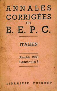 Annales corrigés du B.E.P.C. 1953 : Italien - Inconnu - Livre