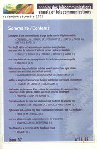 Annales des télécommunications Tome 57 n°11/12 - Collectif - Livre