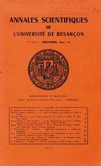 Annales scientifiques de l'université de Besançon 2ème série Géologie fascicule 14 - Collectif - Livre