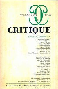 Critique n°481-482 : Autour de la révolution - Collectif - Livre