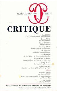 Critique n°536-537 - Collectif - Livre