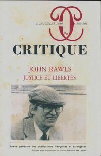 Critique n°505-506 : John Rawls, justice et libertés - Collectif - Livre