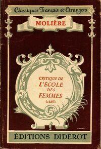 Critique de l'école des femmes - Molière - Livre