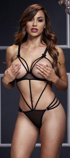 Baci lingerie Black Body Strappy seins ouverts Noir
