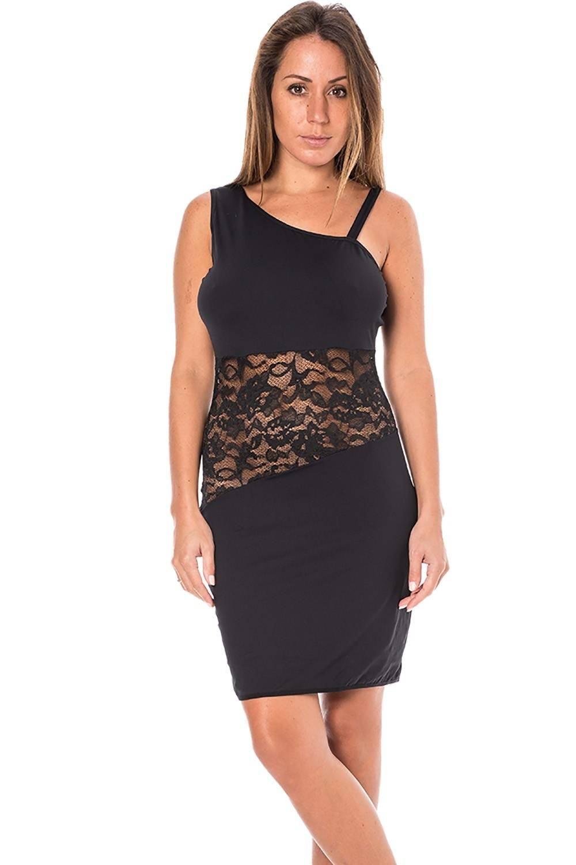 Look Me Dress Robe noire asymétrique avec dentelle - LDR3 Noir