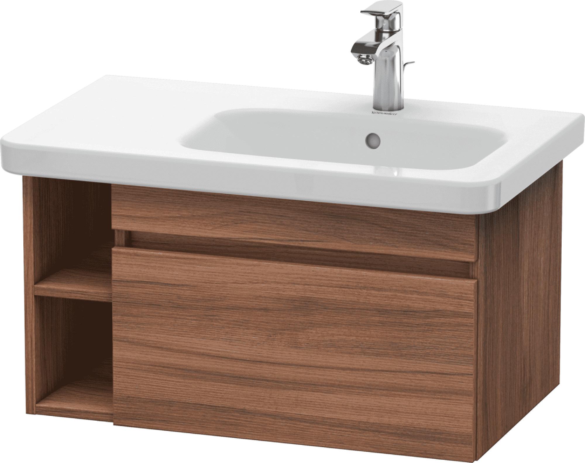 Duravit DuraStyle - Meuble sous lavabo avec 1 tiroir et étagère à gauche 730x398x448mm chêne foncé brossé placage bois/chêne foncé brossé placage bois