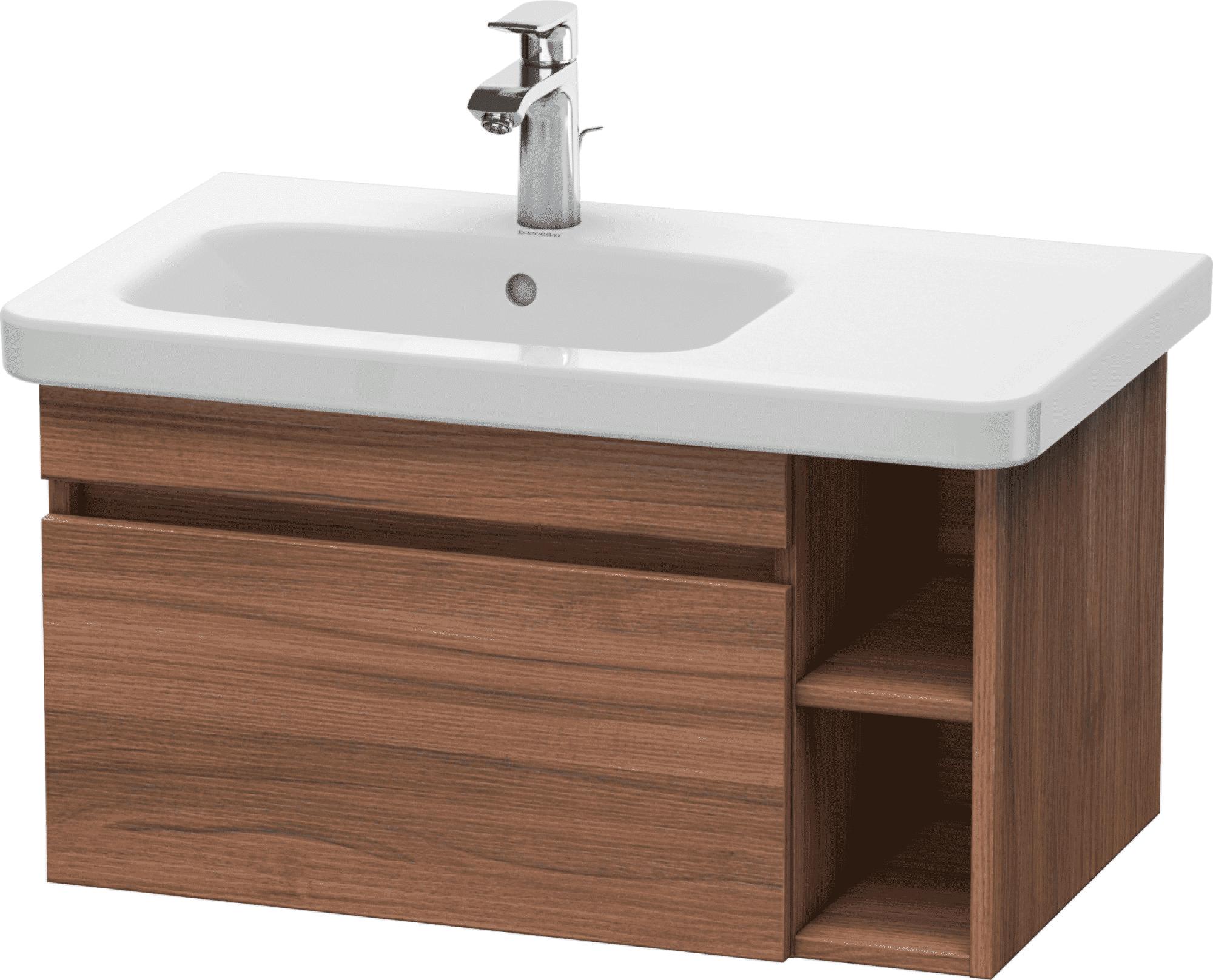 Duravit DuraStyle - Meuble sous lavabo avec 1 tiroir et étagère à droite 730x398x448mm chêne foncé brossé placage bois/chêne foncé brossé placage bois