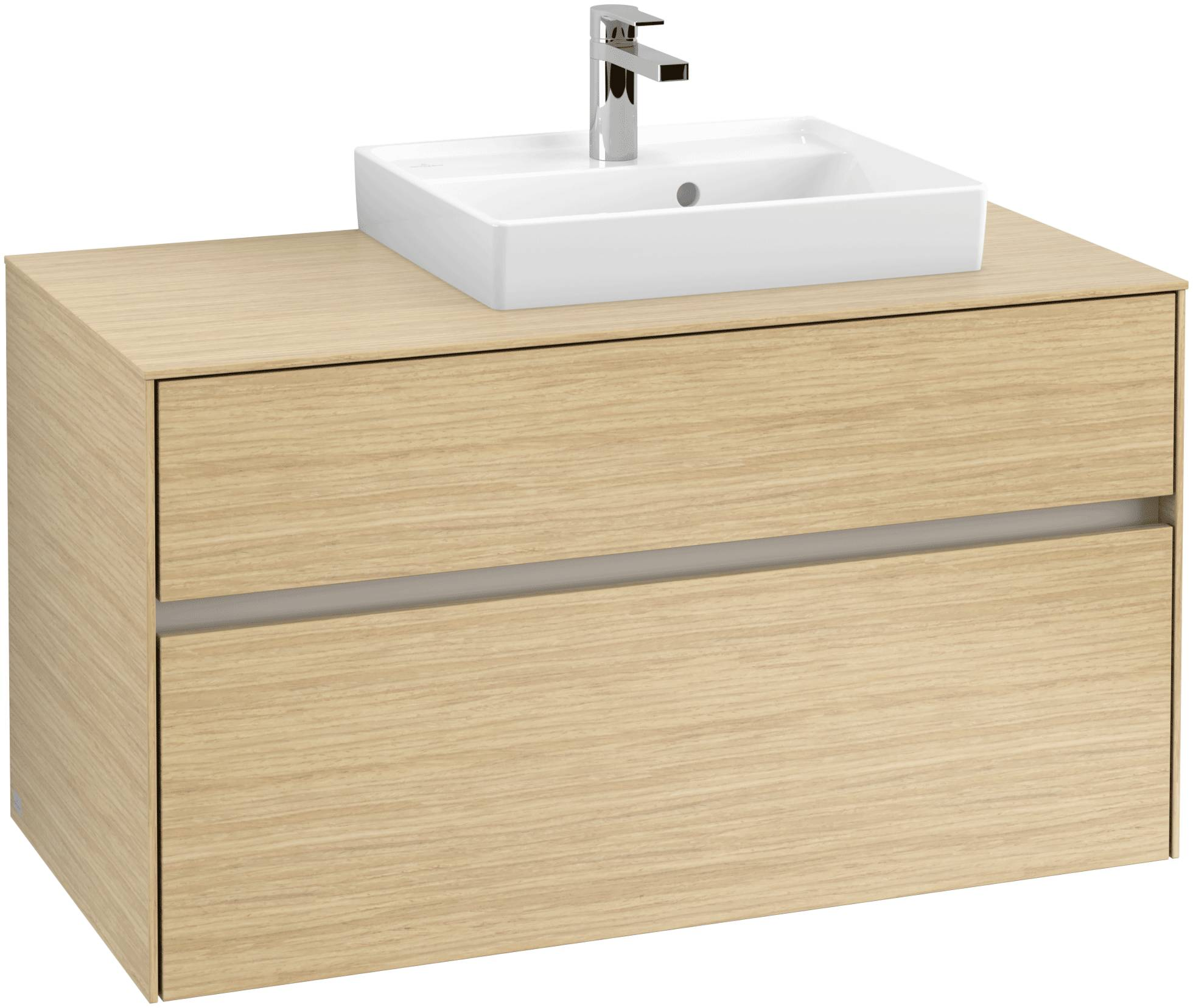 Villeroy & Boch Villeroy & Boch Collaro - Meuble sous lavabo with 2 drawers & 1 cut-out right 1000 x 548 x 500mm chêne nordique