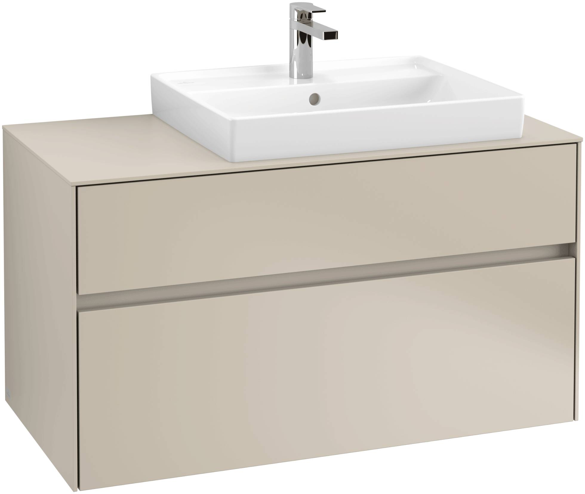 Villeroy & Boch Villeroy & Boch Collaro - Meuble sous lavabo with 2 drawers & 1 cut-out right 1000 x 548 x 500mm gris soft