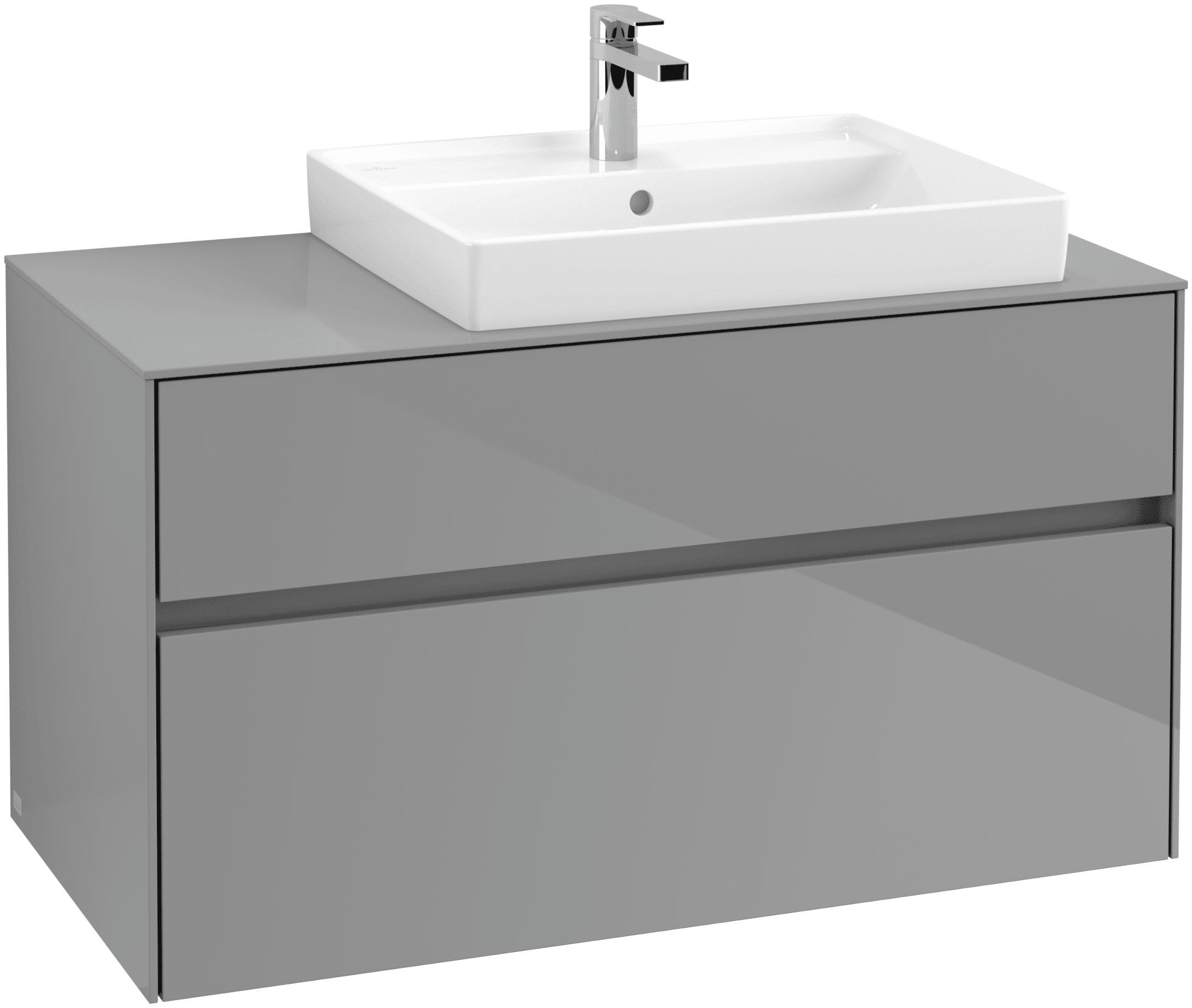 Villeroy & Boch Villeroy & Boch Collaro - Meuble sous lavabo with 2 drawers & 1 cut-out right 1000 x 548 x 500mm gris lustré