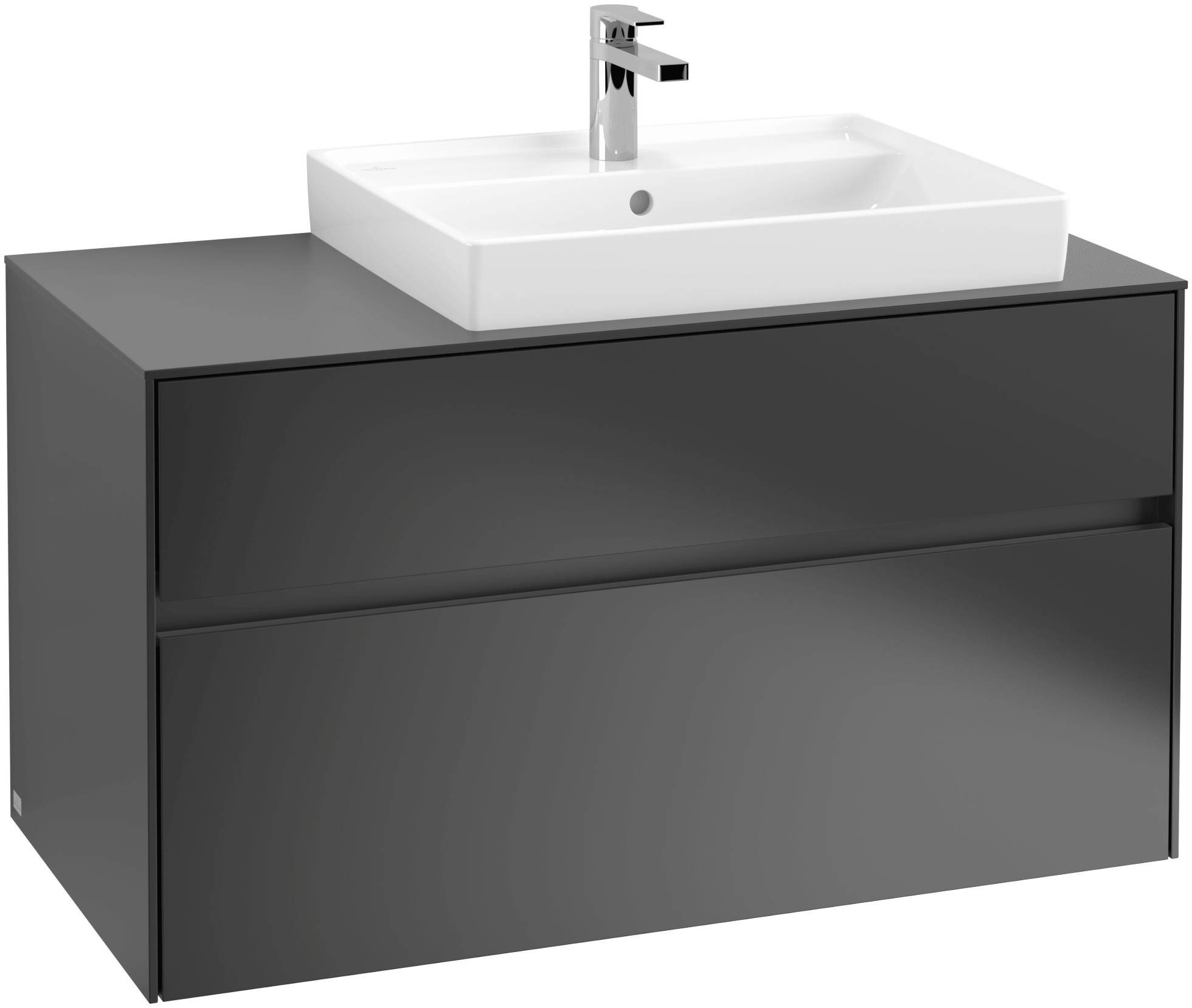 Villeroy & Boch Villeroy & Boch Collaro - Meuble sous lavabo with 2 drawers & 1 cut-out right 1000 x 548 x 500mm noir mat