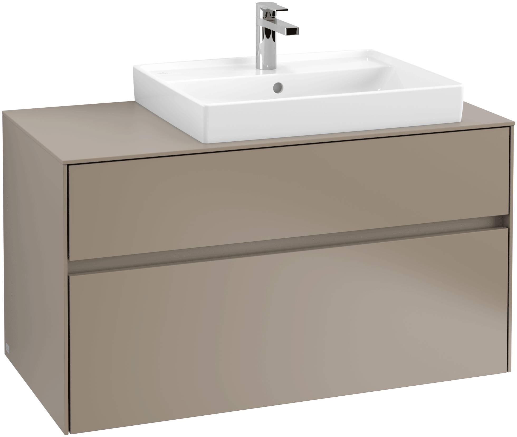 Villeroy & Boch Villeroy & Boch Collaro - Meuble sous lavabo with 2 drawers & 1 cut-out right 1000 x 548 x 500mm gris truffe
