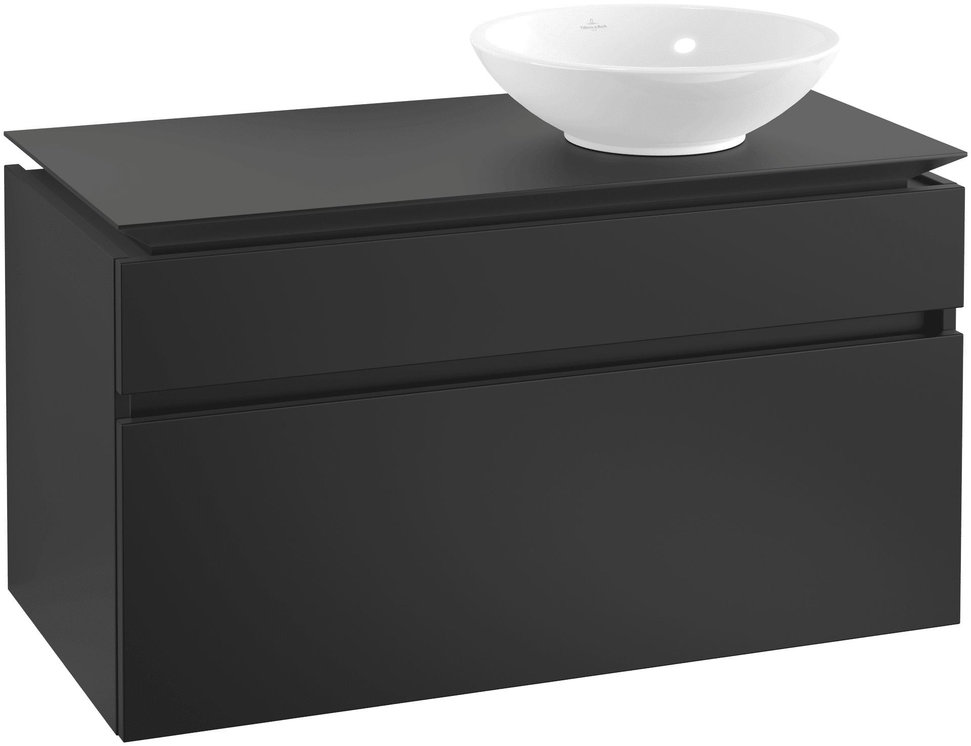 Villeroy & Boch Villeroy & Boch Legato - Meuble sous lavabo with 2 drawers & 1 cut-out right 1000 x 550 x 500mm noir mat