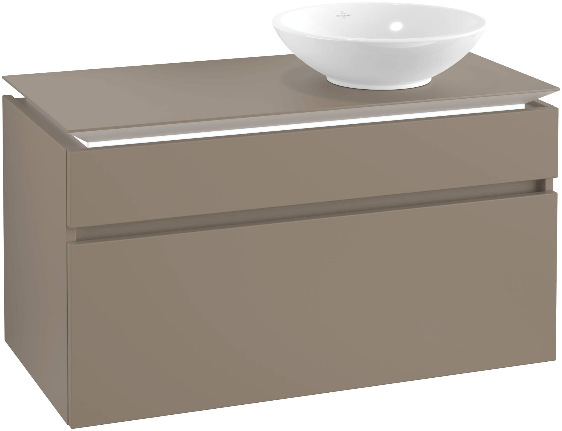 Villeroy & Boch Villeroy & Boch Legato - Meuble sous lavabo with 2 drawers & 1 cut-out right 1000 x 550 x 500mm truffle grey