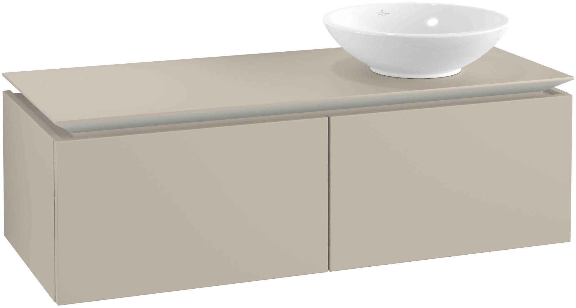 Villeroy & Boch Villeroy & Boch Legato - Meuble sous lavabo with 2 drawers & 1 cut-out right 1200 x 380 x 500mm soft grey
