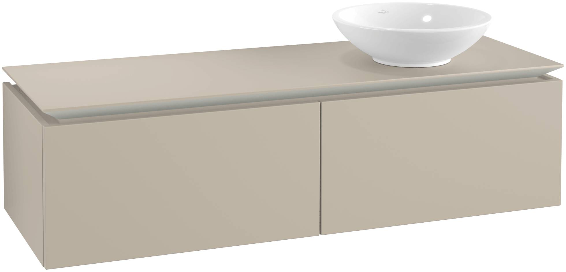 Villeroy & Boch Villeroy & Boch Legato - Meuble sous lavabo with 2 drawers & 1 cut-out right 1400 x 380 x 500mm soft grey