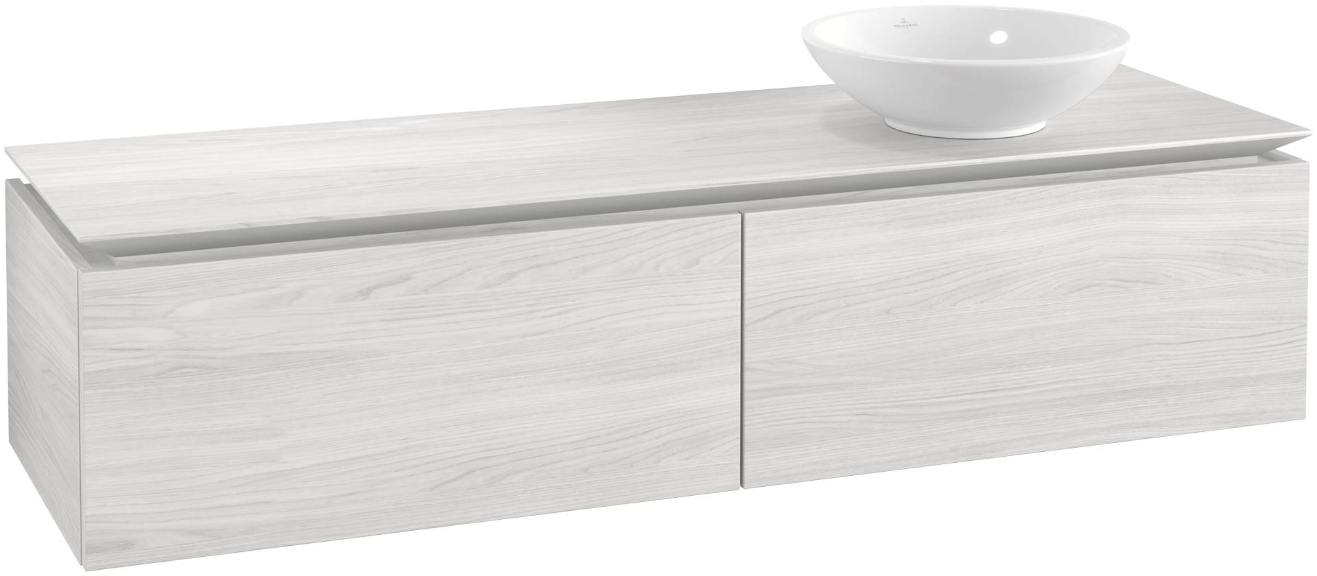 Villeroy & Boch Villeroy & Boch Legato - Meuble sous lavabo with 2 drawers & 1 cut-out right 1600 x 380 x 500mm bois blanc